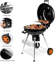QOMOTOP Charcoal Grill, 22.5 inch Barbecue Grill, Patio Backyard Cooking, Camping BBQ Grill, Portable Charcoal Grill