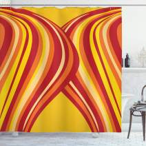 """Ambesonne Retro Shower Curtain, Wavy Vertical Stripes Entwined Curvy Abstract Artwork Graphic Illustration Art, Cloth Fabric Bathroom Decor Set with Hooks, 70"""" Long, Yellow Orange"""