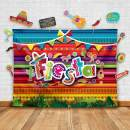 Summer Fiesta Theme Photography Backdrop and Studio Props DIY Kit. Great as Mexican Dress-up Photo Booth Background, Pool Birthday Party Supplies and Luau Event Decorations