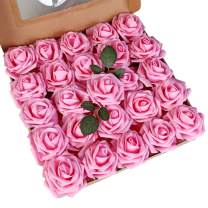 LUSHIDI Artificial Roses Flowers 25pcs Hot Pink Real Looking Fake Roses w/Stem for DIY Wedding Bouquets Centerpieces Baby Shower Party Home Decor