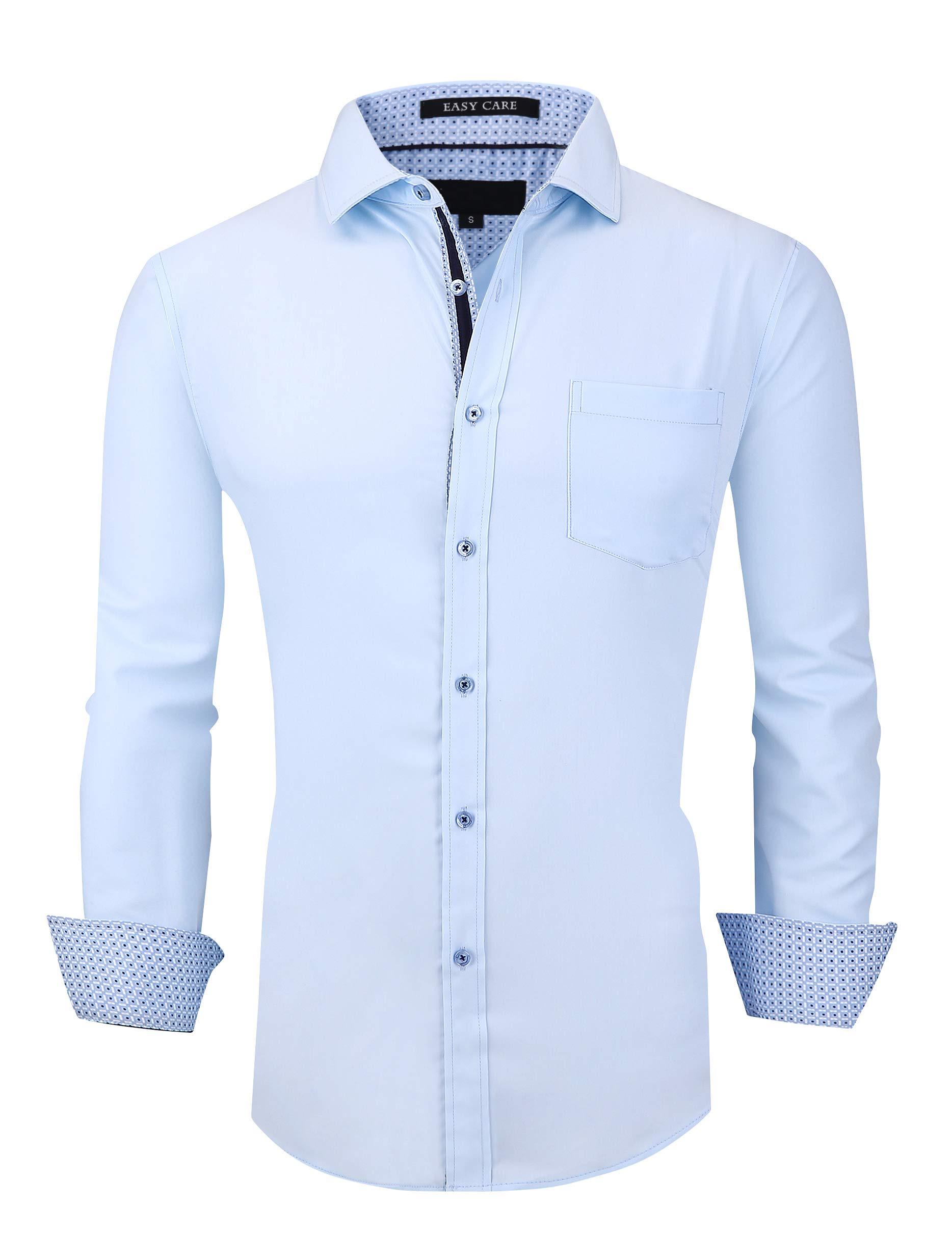 Esabel.C Mens Dress Shirts Wrinkle Free Regular Fit Long Sleeve Solid Bamboo Fiber Button Down Shirts