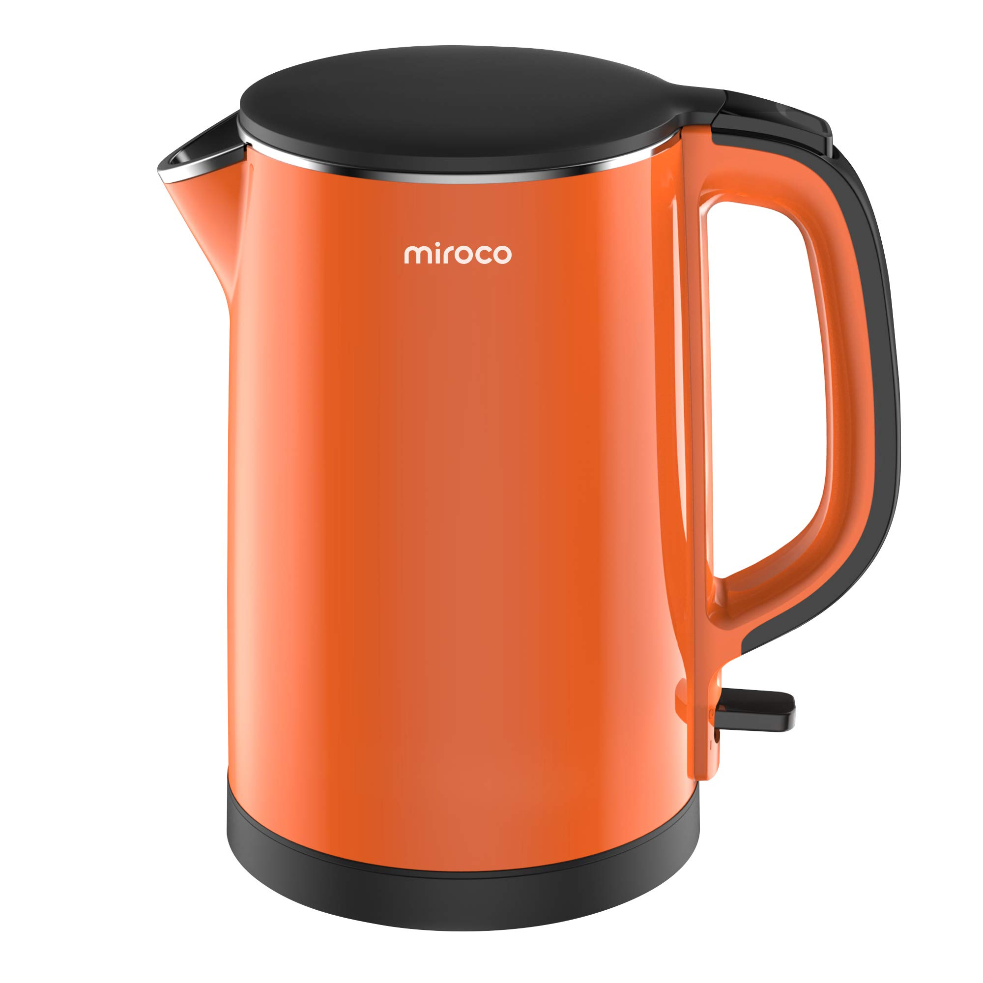 Electric Kettle, Miroco Double Wall 100% Stainless Steel BPA-Free Cool Touch Tea Kettle with 1500W Fast Boiling Heater, Overheating Protection, Cordless with Auto Shut-Off & Boil Dry Protection, WhiteWater Kettle with LED Indicator Light