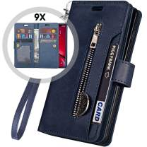 iPhone 11 Pro Wallet Case with Strap for Women/Men,Auker Trifold 9 Card Holder Folio Flip Book Leather Heavy Duty Full Body Protective Magnet Zipper Pocket Case w/Kickstand for iPhone 11Pro (Navy)