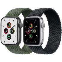 2-Pack Solo Loop Strap Compatible with Apple Watch Band 42mm 44mm,No Clasps No Buckles Stretchable Braided Sport Elastics Replacement Wristband for iWatch Series 6/5/4/3/2/1,SE,Green&Charcoal,8#
