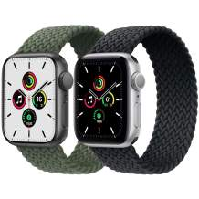 2-Pack Solo Loop Strap Compatible with Apple Watch Band 38mm 40mm,No Clasps No Buckles Stretchable Braided Sport Elastics Replacement Wristband for iWatch Series 6/5/4/3/2/1,SE,Green&Charcoal,6#