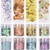 COKOHAPPY 8 Boxes 10ml Holographic Mermaid Chunky Glitter Sequins Iridescent Flakes Hexagon Tips Mixed Paillette Face Eyes Body Hair Nail Art