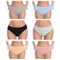 MISSWHO Underwear Women Cotton Soft Bikini Panties Breathable Stretchy Hipster Low Waist Briefs for Ladies (Multicolor)