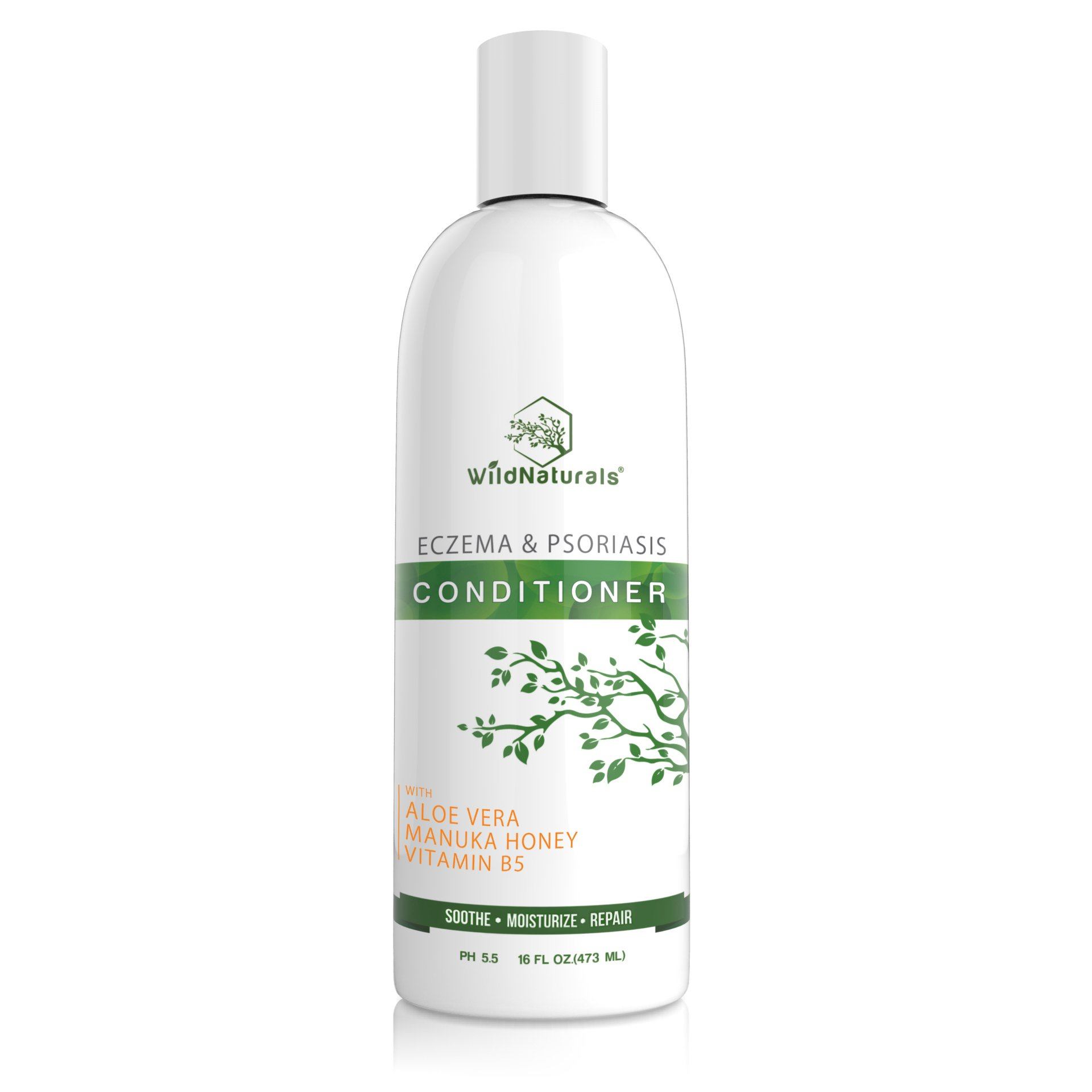 Wild Naturals Eczema Psoriasis Conditioner : 98% Natural, 80% Organic, Sulfate Free, Soothing, Healing, Anti Dandruff, Flaky, Itchy, Dry Scalp Treatment for Seborrheic Dermatitis, Moisturizing, 16oz