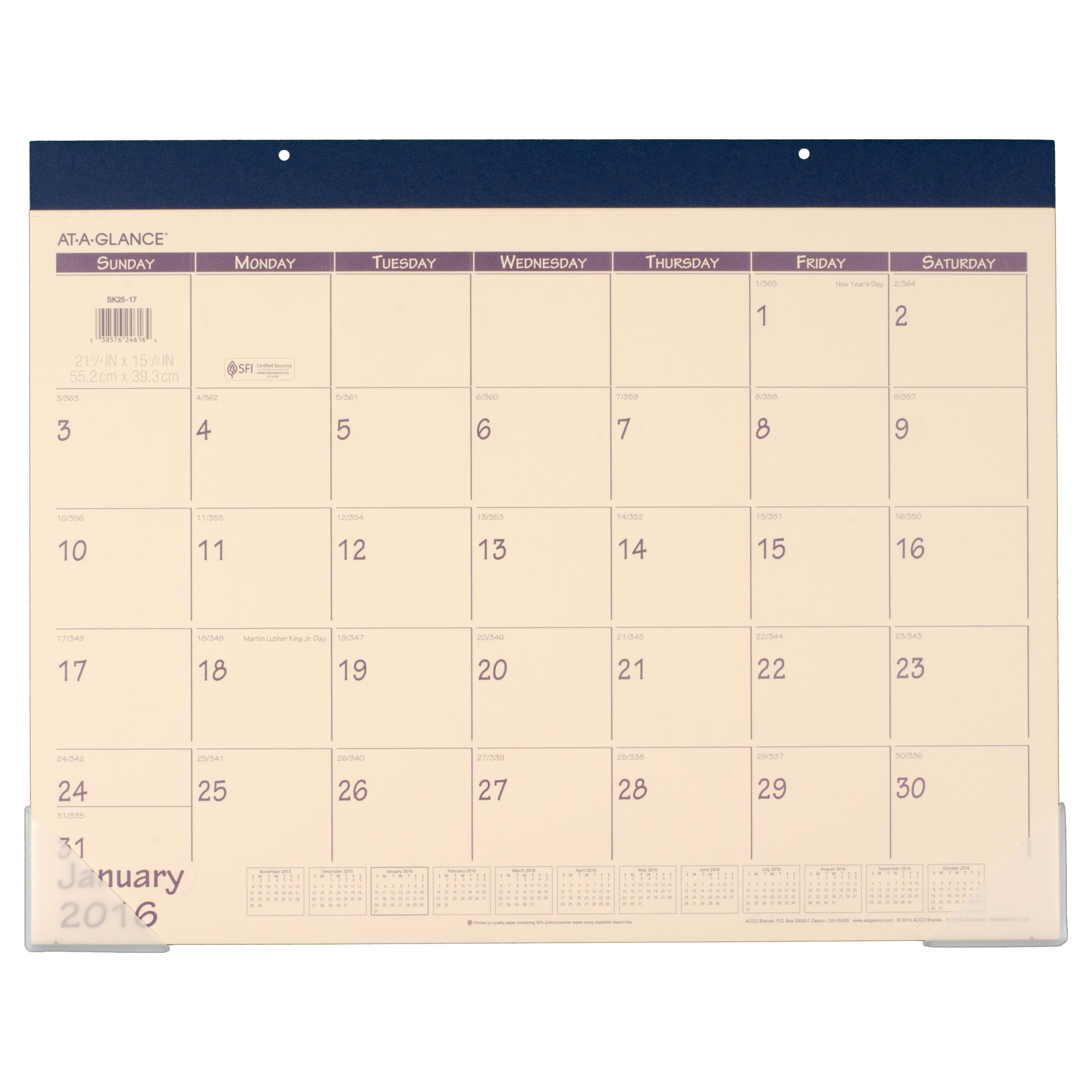 AT-A-GLANCE Desk Pad Calendar 2016, 12 Months, 21-3/4 x 15-1/2 Inches, Fashion Color Blue (SK25-17)