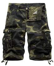 IDEALSANXUN Men's Casual Loose Fit Multi-Pockets Military Cargo Shorts
