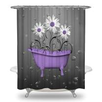 "Ale-Art Purple Gray Daisy Flowers Bubbles Shower Curtain Set with 10 Hooks Waterproof Bath Curtain Rustic Bathroom Home Decor 60""X72"""