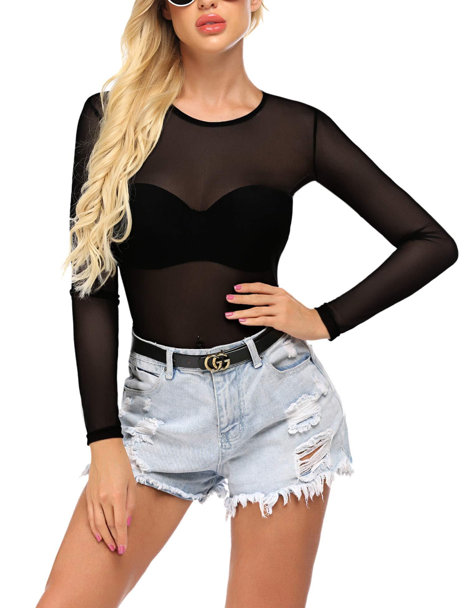 ADOME Sheer Mesh Shirt Women's Long Sleeve Blouse Top Bodycon Tee Clubwear
