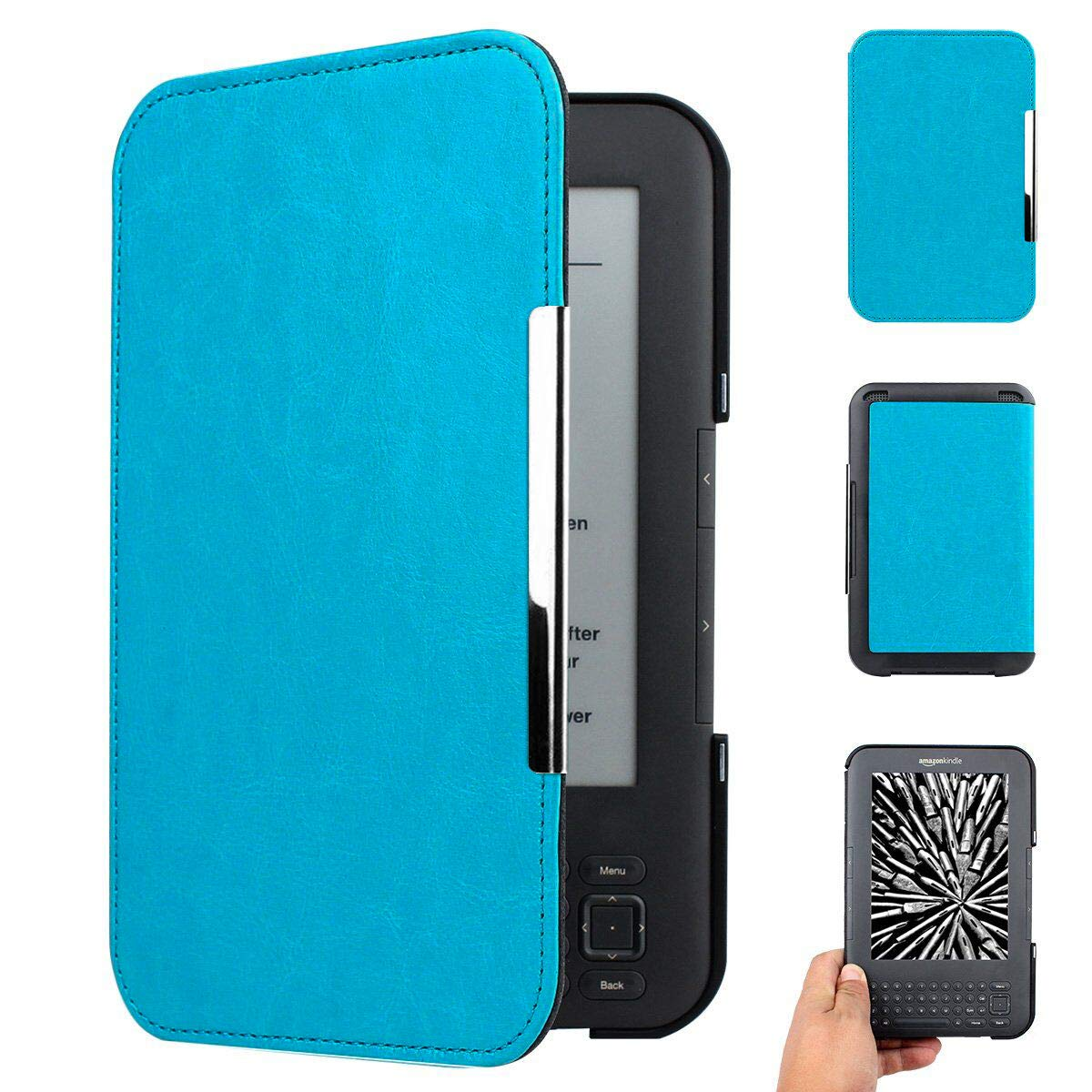WALNEW Amazon Kindle Keyboard (kindle 3/D00901) Case Cover -- Ultra Lightweight PU Leather  Cover for Amazon kindle Keyboard(3rd Generation)Tablet with 6 Display and Keyboard (Light Blue)