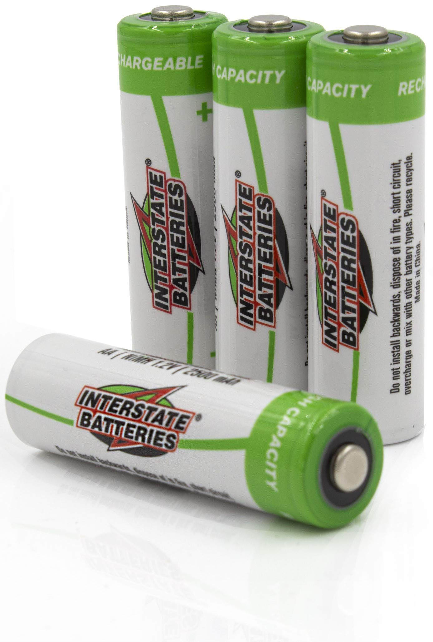 Interstate Batteries AA Rechargeable Batteries - High Capacity (2500 mAh NIMH AA Battery) 4 Pack - 1.2V (NIC1460)