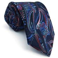 SHLAX&WING Fashion Navy Blue Red Neckties for Men Paisley Ties Dress New Silk
