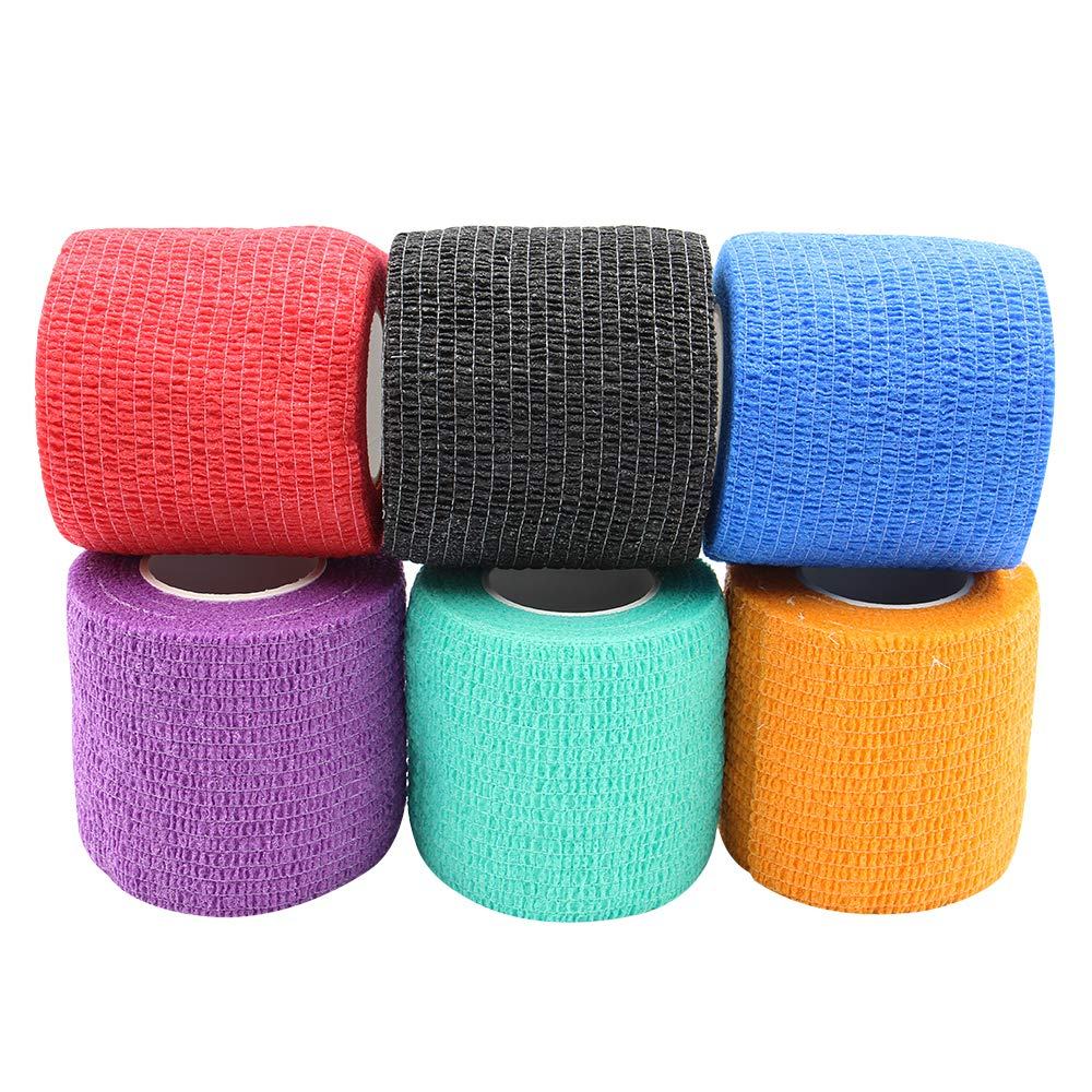 """Tattoo Grip Cover Wrap - Yuelong 6pcs 2"""" x 5 Yards Disposable Cohesive Tattoo Grip Tape Wrap Elastic Bandage Rolls Self-Adherent Tape for Tattoo Machine Grip Tube Accessories, Sports Tape"""