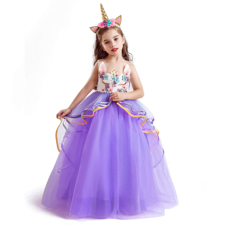 NNJXD Girls Unicorn Party Princess Long Dress Size (140) 6-7 Years Purple&