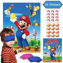 Super Mario Party Game Pin The Nose On The Face & Pin The M Insignia On The Hat – Mario Brother Party Supplies Wall Decorations Poster - 24 Nose & M Stickers for Kids Boys Outdoor Indoor Activity