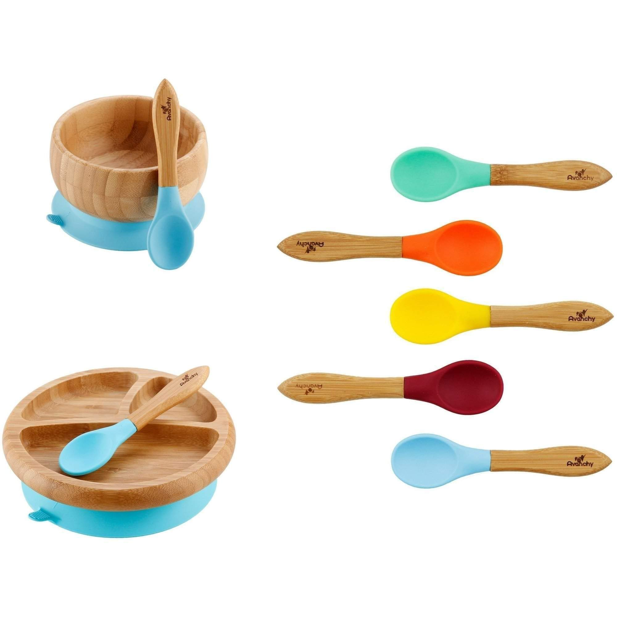 Rainbow Gift Set Blue - Baby Shower, Baby Registry, Home Set & More. Baby Girl, Baby Boy, Unisex. Baby Bowl Set + Baby Plate Set + Assorted Baby Spoons Set.