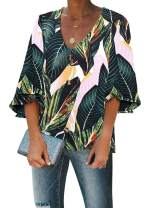 Biucly Women's Casual V Neck Short Bell Sleeve Tops Wrap Floral Print Tunic Summer Blouse Shirts(S-2XL)