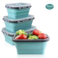 MYKUJA Collapsible Silicone Food Storage Containers -Set of 3 Lunch Bento Boxes Green Silicone Lunch Box Dishwasher Folding Lunch box-Small and Large Collapsible Meal Prep Container 350/500/800ML Blue