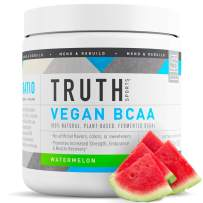 Truth Nutrition Fermented Vegan BCAA Powder- 2:1:1 Ratio All Natural Branched Chain Amino Acids for Energy, Muscle Building, Post Workout Recovery and Endurance (Watermelon, 30 Servings)