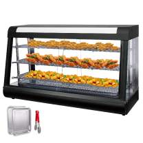 VEVOR 110V 48-Inch Commercial Food Warmer Display Case 3-Tier 2000W Electric Countertop Food Warmer Display 86-185℉ Pastry Display Case with 2 Trays & 1 Bread Tong for Buffet Restaurant