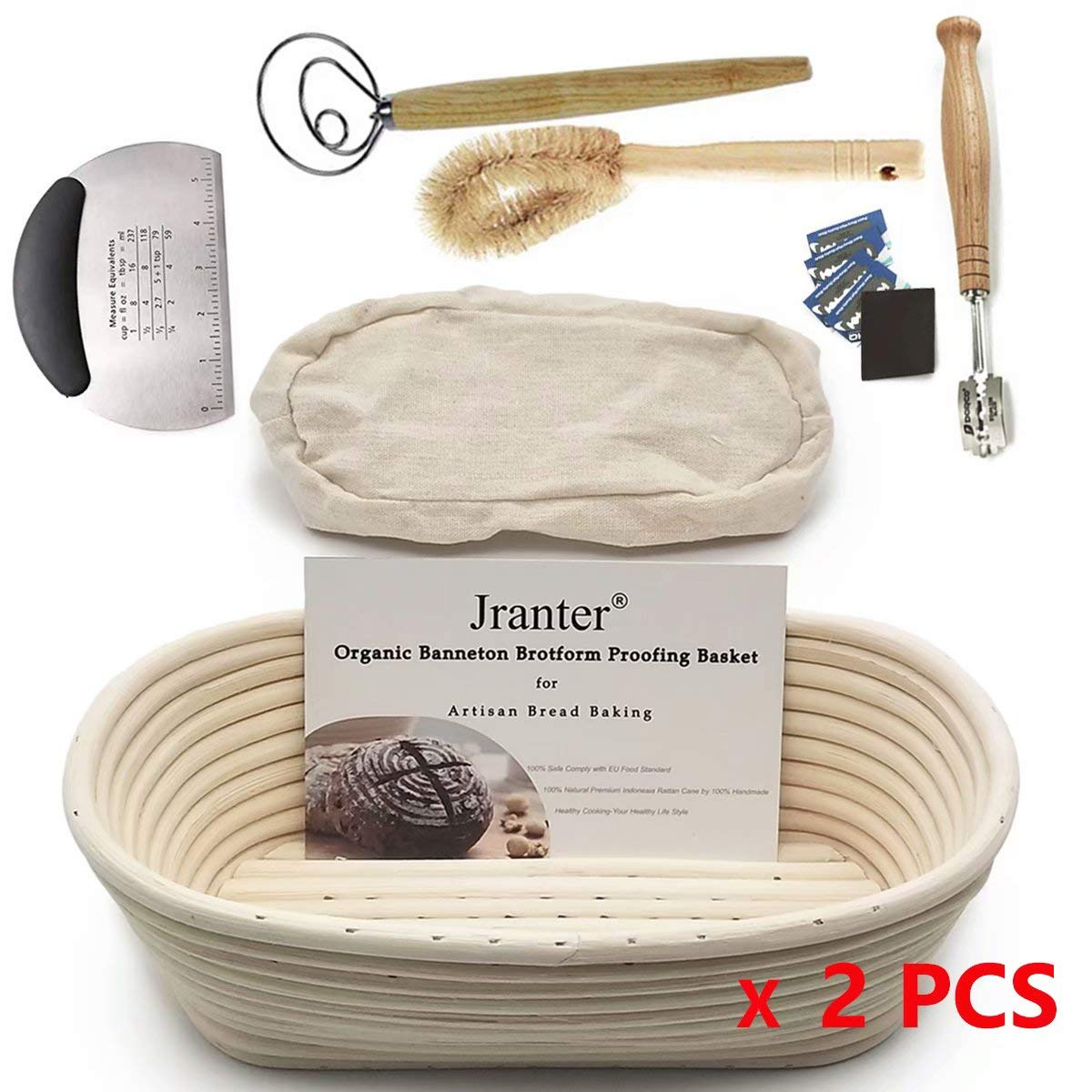 2 Pack of 10 Inch Oval Bread Banneton Proofing Basket French Style Artisan Sourdough Bread Bakery Basket Bakeware Set (Linen Liner Cloth + Bread Knife + Bread Lame + Dough Whisk+Basket Cleaning Brush)