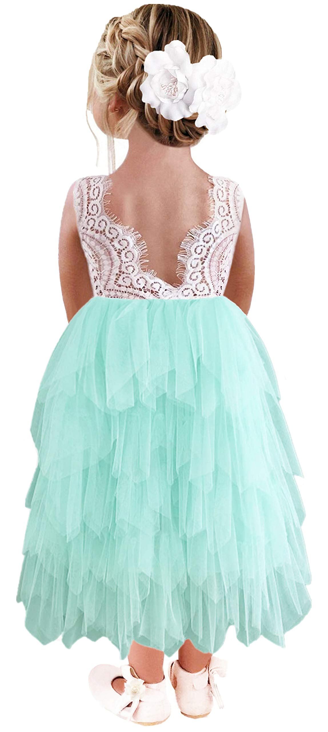 2Bunnies Girl Lace Back A-Line Tutu Tulle Flower Girl Dress