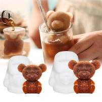 Whaline 2Pcs 3D Teddy Bear Ice Cube Mold, Silicone Animal Mold, Soap Candle Mold, Ice Cube for Coffee, Milk, Tea, Candy Gummy Fondant, Cake Baking, Cupcake Topper Decoration (2 Sizes)