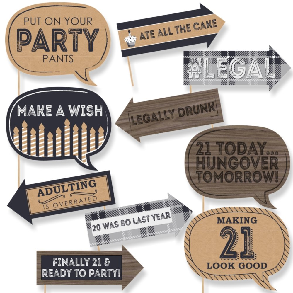 Big Dot of Happiness Funny Finally 21 - 21st Birthday - Party Photo Booth Props Kit - 10 Piece