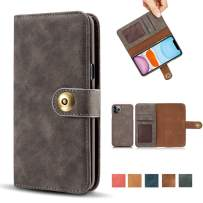 """iPhone 11 Pro Max Case, Vintage 2 in 1 [Magnetic Detachable] Flip Folio Wallet PU Leather Case Removable Retro [4 Card Slot] Holder Protective Cover for iPhone 11 Pro Max 6.5"""" - Gray"""