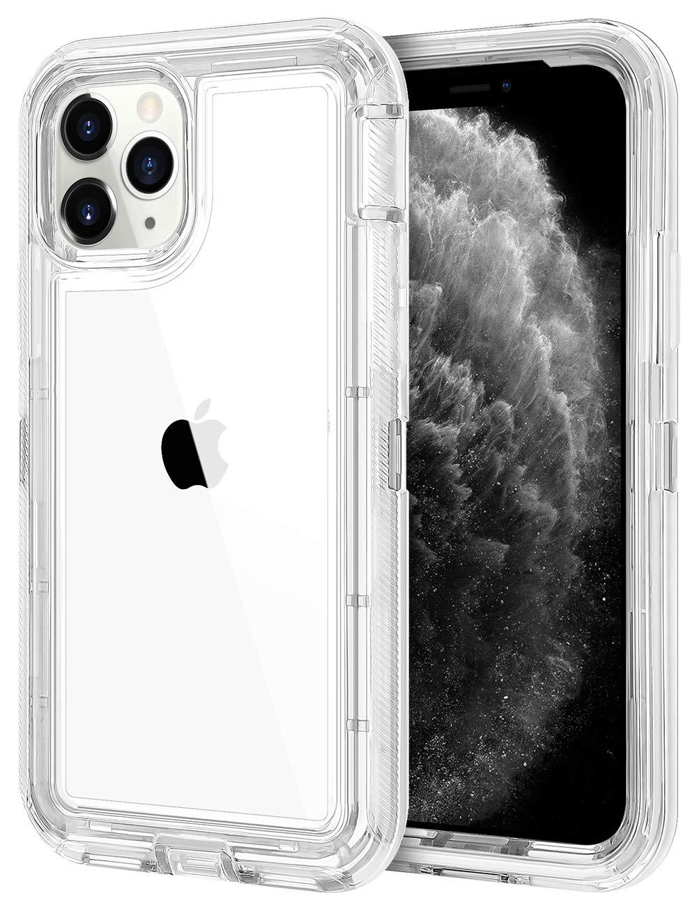 JAKPAK Case for iPhone 11 Pro Max Case Clear Transparent Heavy Duty Protection for Shockproof Anti Scratch Cover Dual Layer Hard PC Bumper TPU Back Case for iPhone 11 Pro Max 6.5 inches Transparent