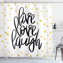 """Ambesonne Live Laugh Love Shower Curtain, Hand Lettering on Dotted Backdrop Inspirational Phrase, Cloth Fabric Bathroom Decor Set with Hooks, 75"""" Long, Black White"""