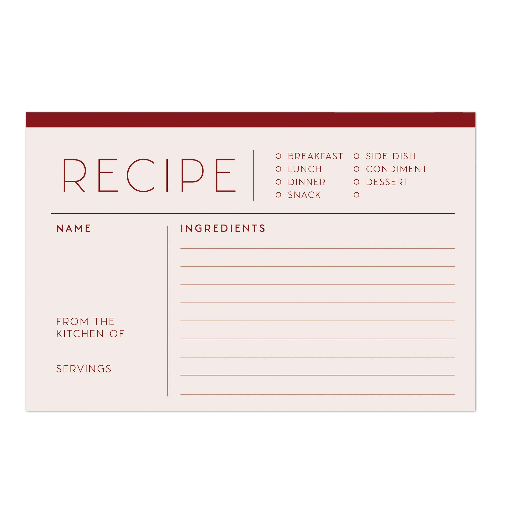 48 Water Resistant Red Recipe Cards, Simple & Modern, Double-Sided, Multi-Colors (Ruby Red)