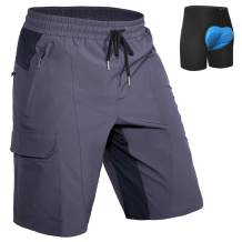 Hiauspor Mens Mountain-Bike-Shorts MTB with Padding Loose-fit