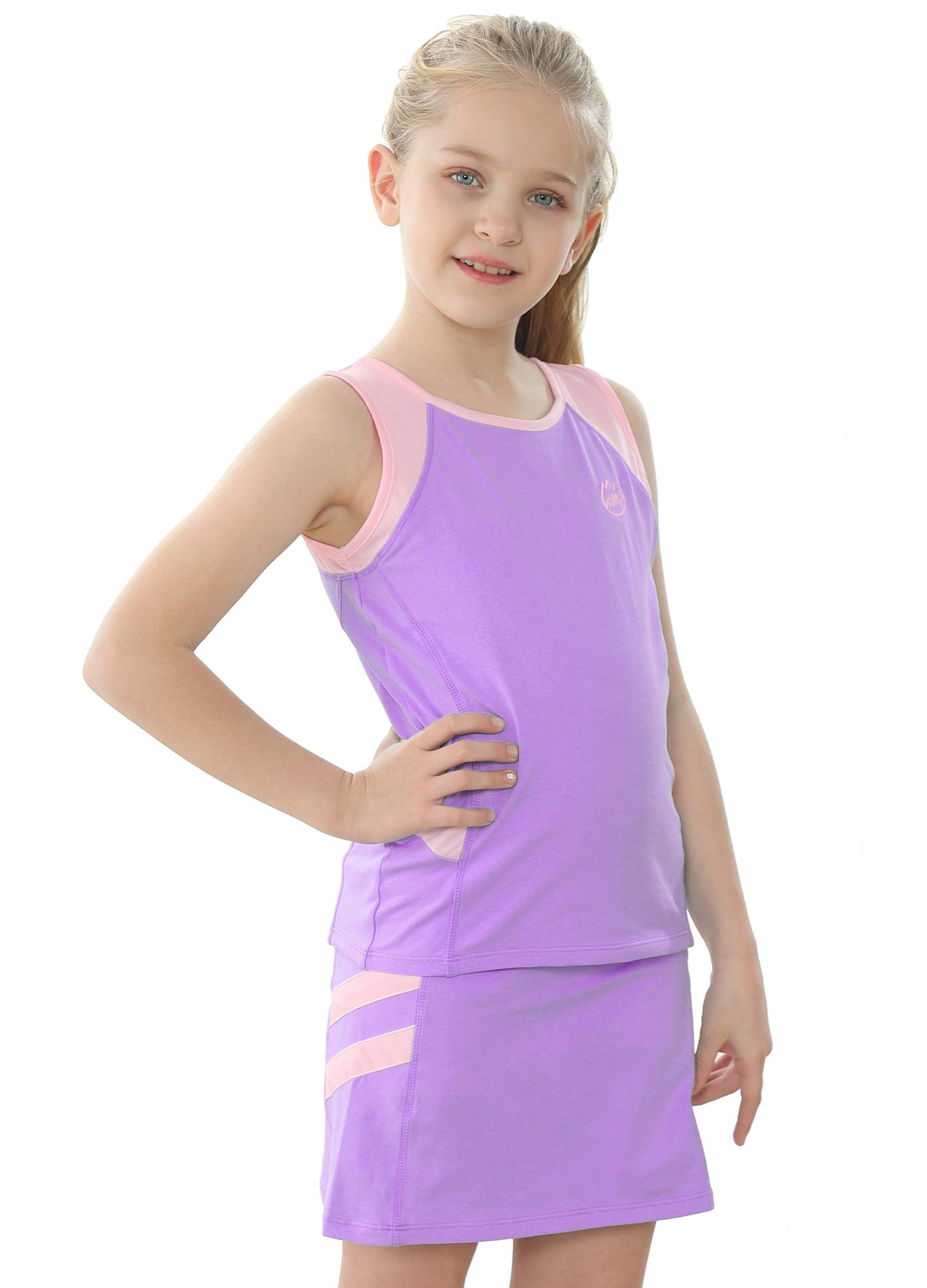 Willit Girls Tennis Golf Tank and Skirt Cotton Tennis Set Outfit Dress with Built in Shorts