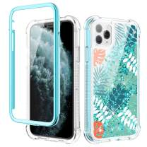 Caka Glitter Case for iPhone 11 Pro Max Glitter Flower Case with Built in Screen Protector Bling Floral Case for Girls Women Girly Protective Case for iPhone 11 Pro Max 6.5 (Leaves)