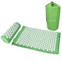 Navaris Acupressure Mat and Pillow Set - Acupuncture Mat for Back and Neck Pain Relief, Muscle Relaxation, Massage Therapy, Sciatica - Green