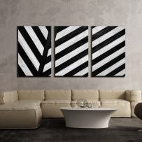 """wall26 - 3 Piece Canvas Wall Art - Black and White Geometric Stripe in Black and White - Modern Home Decor Stretched and Framed Ready to Hang - 16""""x24""""x3 Panels"""
