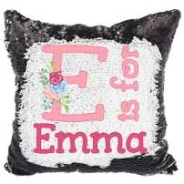 Personalized Alphabet Reversible Sequin Pillow, Custom Name Sequin Pillow for Girls (Black/White)