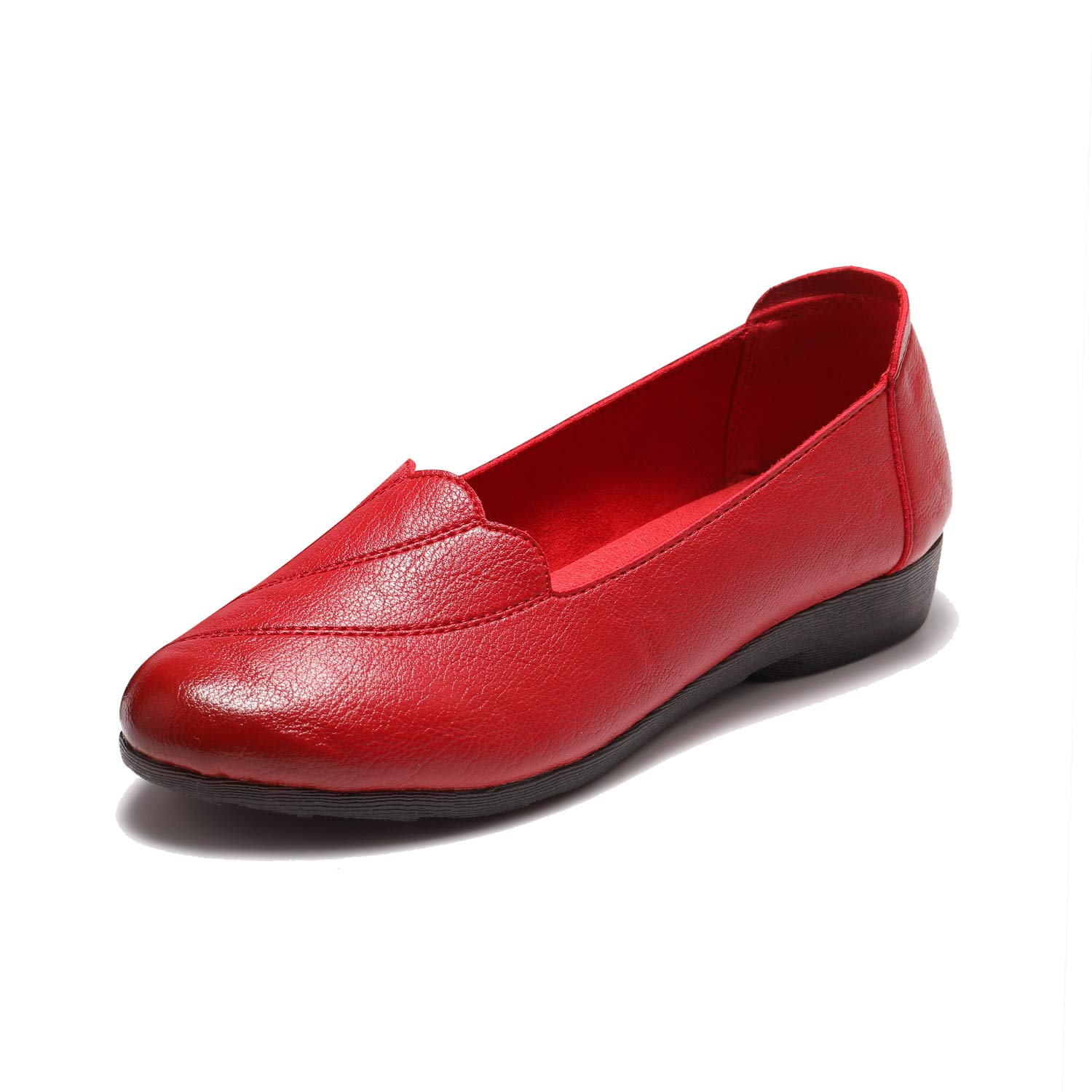 Free Week Women's Comfort Flats Leather Loafers Casual Slip On Flats Breathable Boat Shoes Driving Walking Fashion Soft Shoes Red