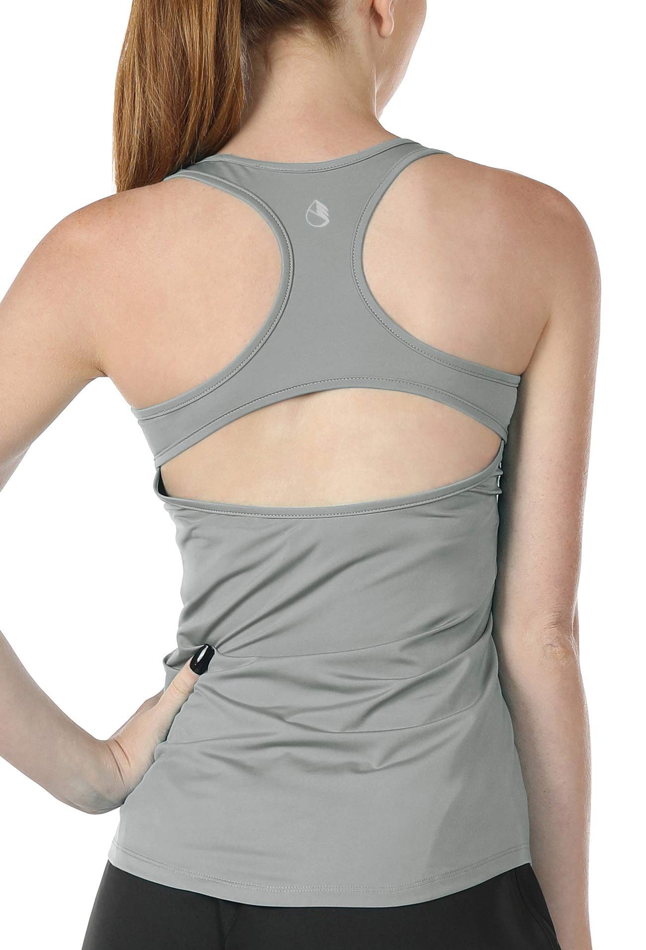 icyzone Open Back Workout Tank Tops for Women - Athletic Training Yoga Tops, Running Exercise Gym Shirts