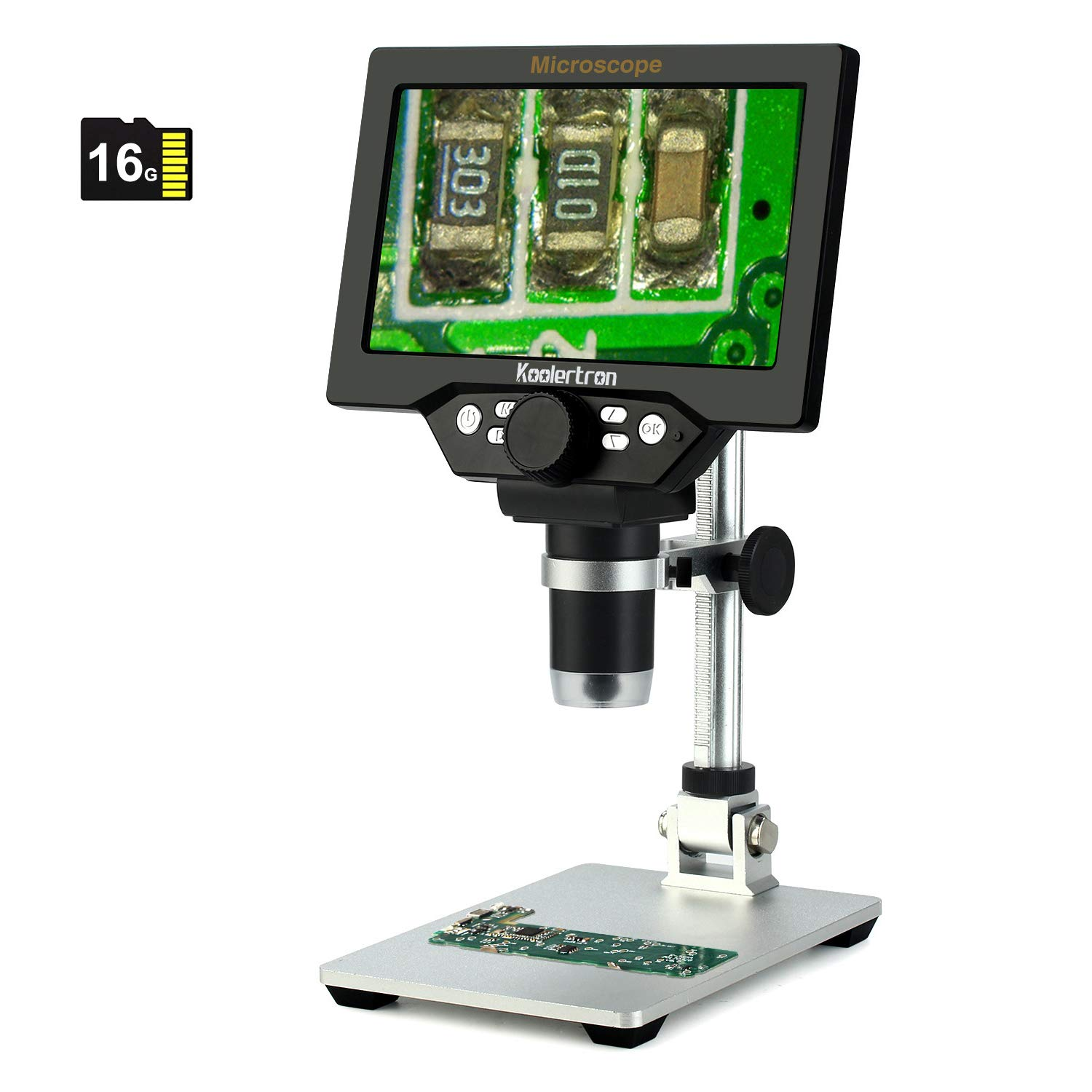 7 inch LCD Digital USB Microscope with 16G TF Card,Koolertron 12MP 1-1200X Magnification Handheld Camera Video Recorder,8 LED Light,Rechargeable Battery for Circuit Board Repair Soldering PCB Coins