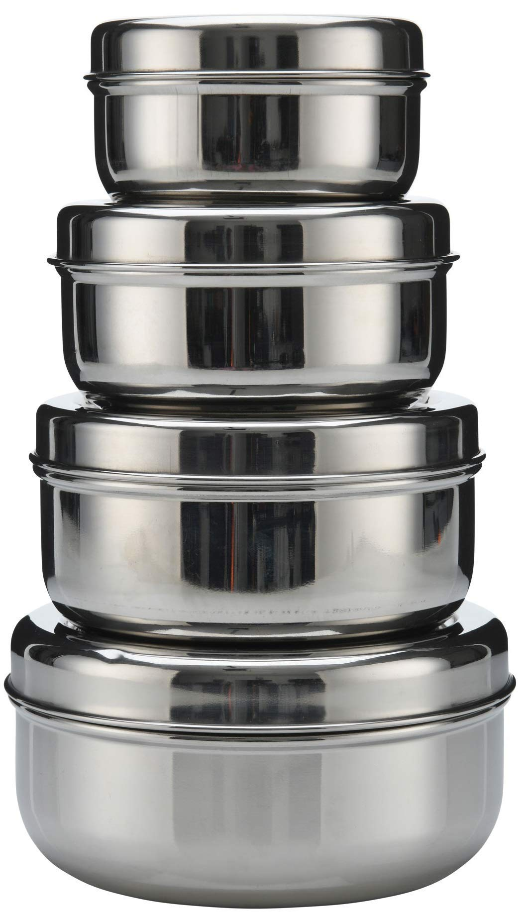18/8 Stainless Steel pack of 4 nesting Lunch Box and food storage container set - Eco friendly, Dishwasher Safe, BPA free, Great for snacks, food storage or leftovers 10oz - 30oz