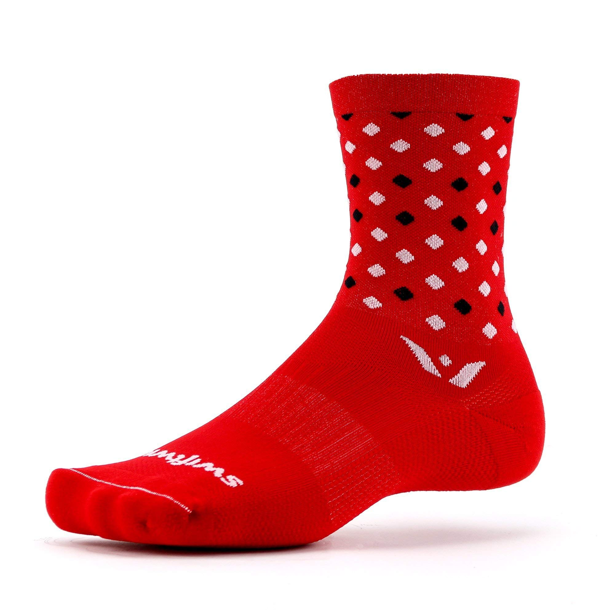 Swiftwick- VISION FIVE RAZZLE Running & Cycling Socks, Performance Crew Socks