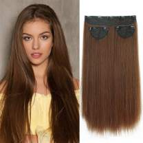 LNERATO Hair Extensions Clips in Straight Light Brown Synthetic Hair 3PCS Set Thick Hair Extensions for Women Full Head 20inch 250g( Light Brown )