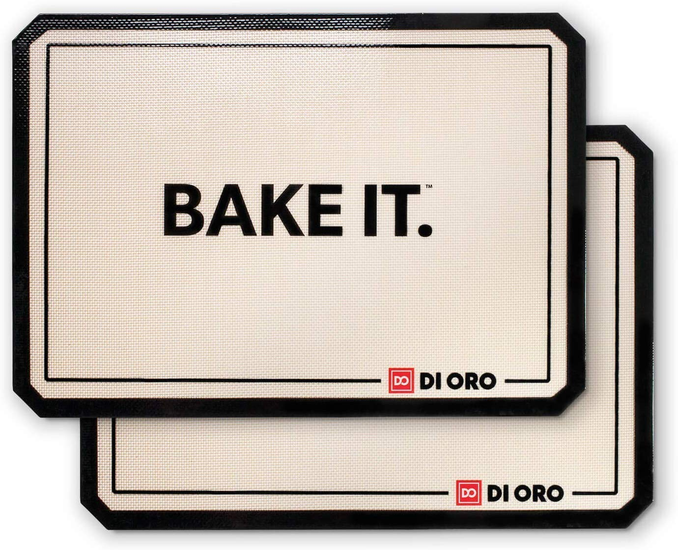 """Di Oro Pro Grade Silicone Baking Mats - 480° Heat Resistant Non Stick Baking Liners - 16 1/2""""× 11 5/8"""" Half Sheet - Dishwasher Safe, Easily Cleanable - BPA Free and LFGB Certified Silicone - 2-Pack"""