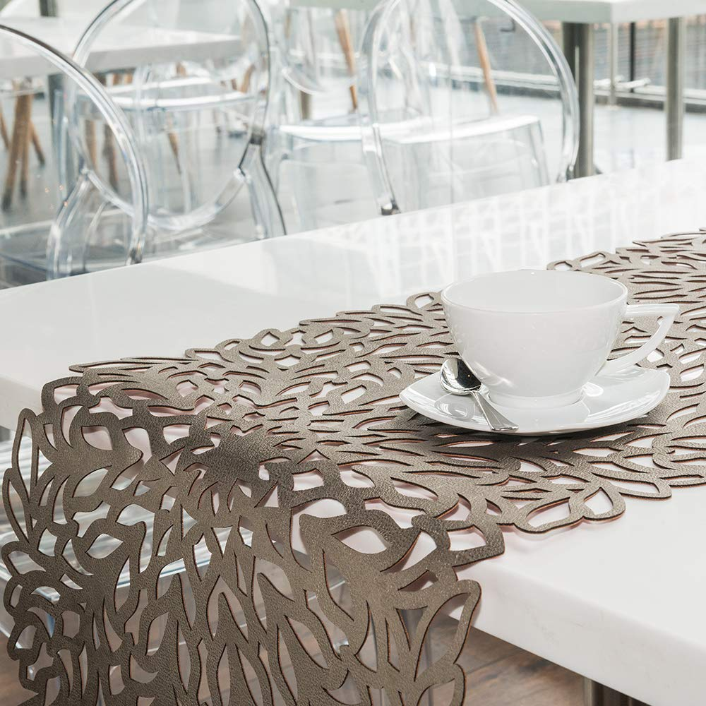 BLASANI Mijal Gleiser Double Sided Table Runner Laser Cut Heat Resistant Non Slip Stain Resistant 62 x 16 Inch (Sea Flower Collection Navy Blue-Rose Gold)