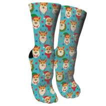 ULQUIEOR Women's Christmas Corgis Snowman Cotton Funny Crazy Novelty Athletic Sports Crew Socks Holiday Gift